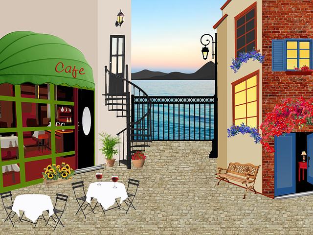 kavárna, sezení, slunečnice